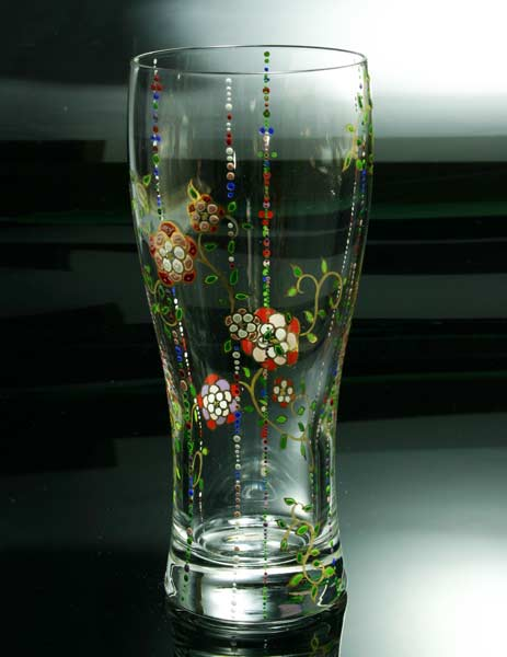 【 送料無料 】 京焼き絵付け ビアグラス ギフト 花模様