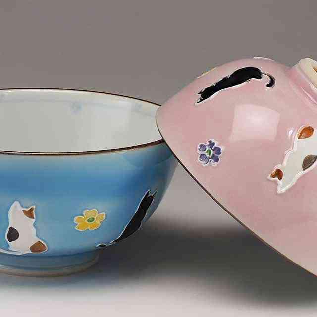 【 送料無料 】 京焼 清水焼 京 焼き 京焼き 夫婦茶碗 組飯碗 2客セット 紙箱入り ご飯茶碗 交趾花ねこ