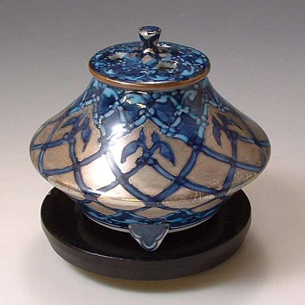 【 送料無料 】 京焼 清水焼 京 焼き 京焼き 香炉(黒台付) 銀モスク ぎんもすく