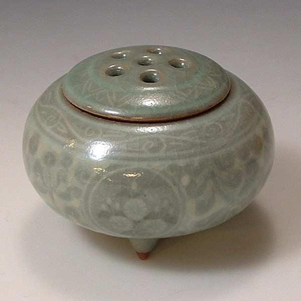 【 送料無料 】 京焼 清水焼 京 焼き 京焼き 豆香炉 象嵌青磁 ぞうがんせいじ