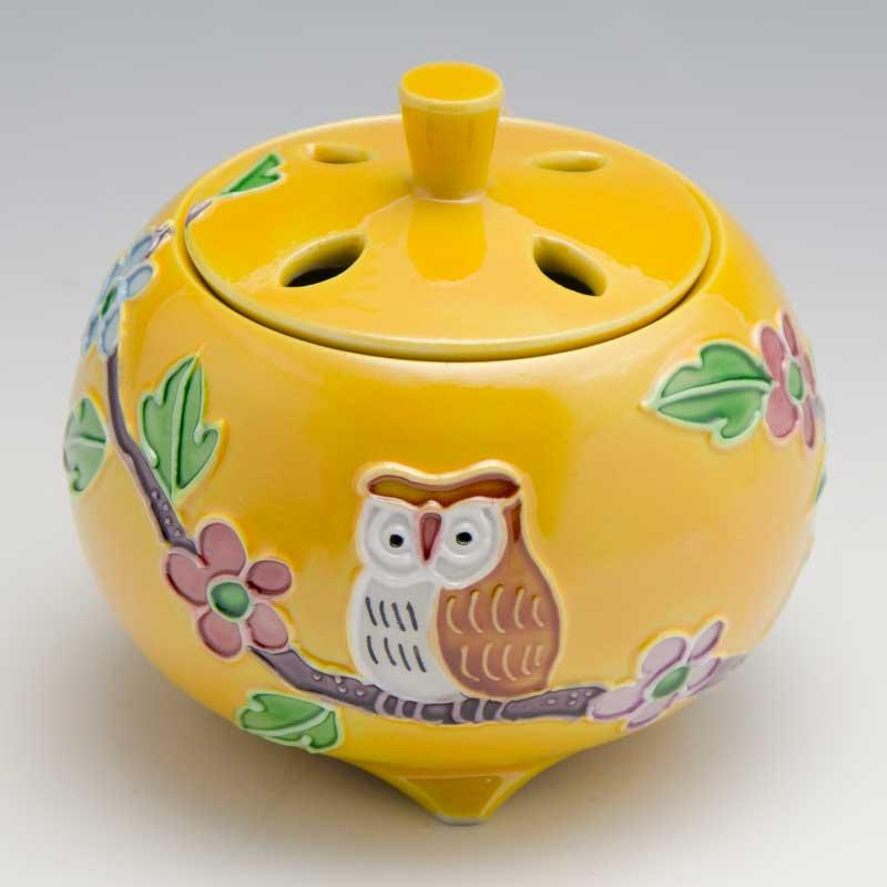 【 送料無料 】 京焼 清水焼 京 焼き 京焼き 香炉 1個 木箱入り 黄交趾ふくろう きこうちふくろう