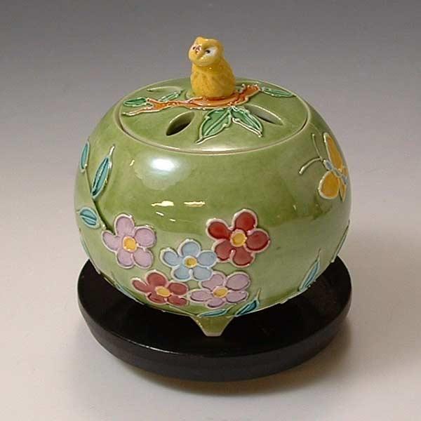 【 送料無料 】 京焼 清水焼 京 焼き 京焼き 香炉(黒台付) 黄ふくろう きふくろう