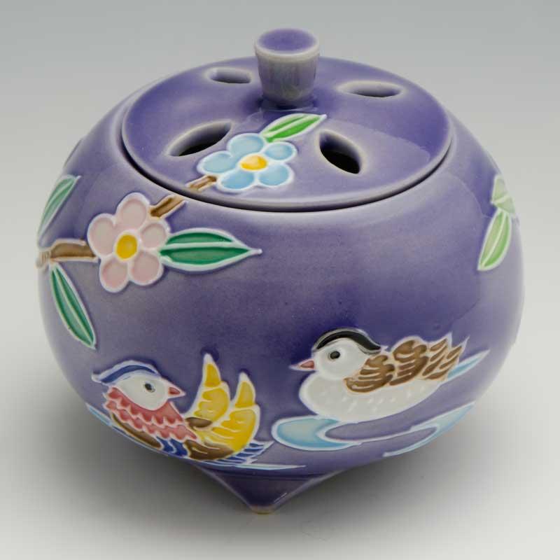 【 送料無料 】 京焼 清水焼 京 焼き 京焼き 香炉 1個 木箱入り 交趾おしどり(紫) こうちおしどり(むらさき)