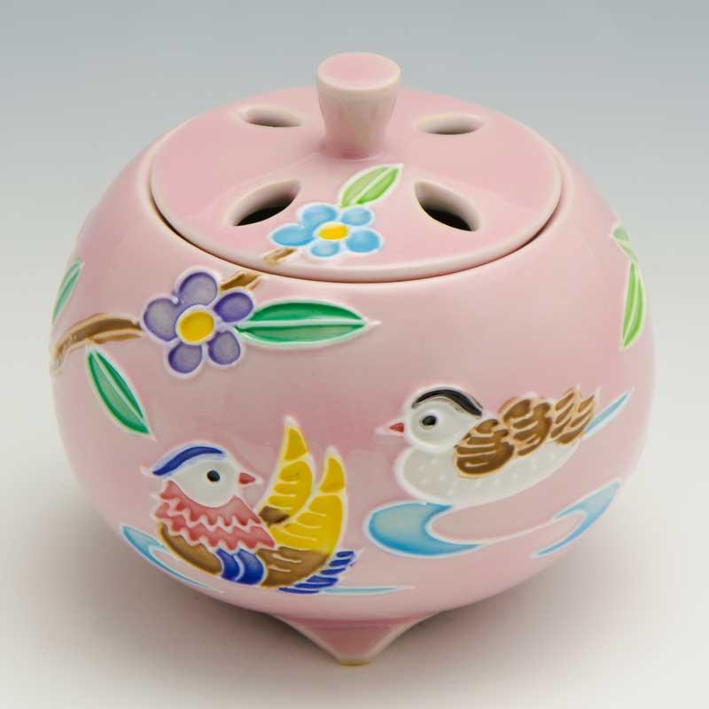 【 送料無料 】 京焼 清水焼 京 焼き 京焼き 香炉 1個 木箱入り 交趾おしどり(ピンク) こうちおしどり(ぴんく)