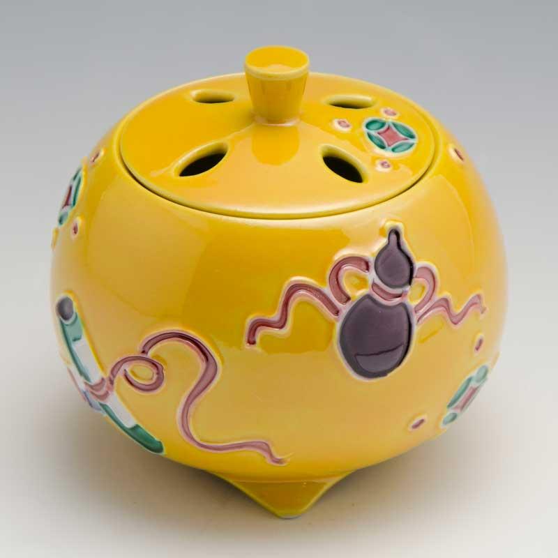 【 送料無料 】 京焼 清水焼 京 焼き 京焼き 香炉 1個 木箱入り 黄交趾宝尽し きこうちたからつくし