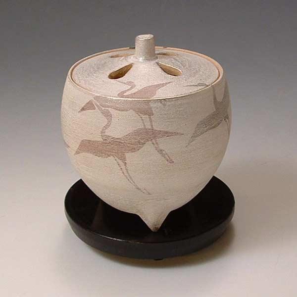 【 送料無料 】 京焼 清水焼 京 焼き 京焼き 豆香炉(黒台付) 翔鶴 しょうかく