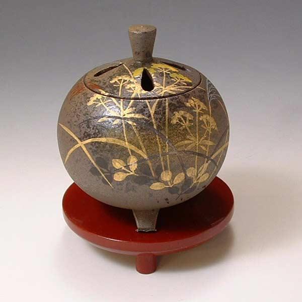 【 送料無料 】 京焼 清水焼 京 焼き 京焼き 香炉(朱台付) 武蔵野 むさしの