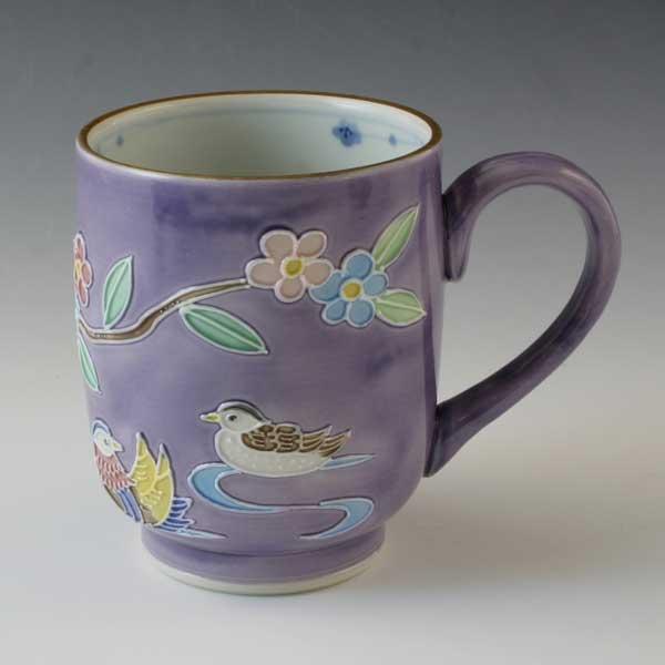 【 送料無料 】 京焼 清水焼 京 焼き 京焼き マグカップ 交趾おしどり(紫) こうちおしどりむらさき