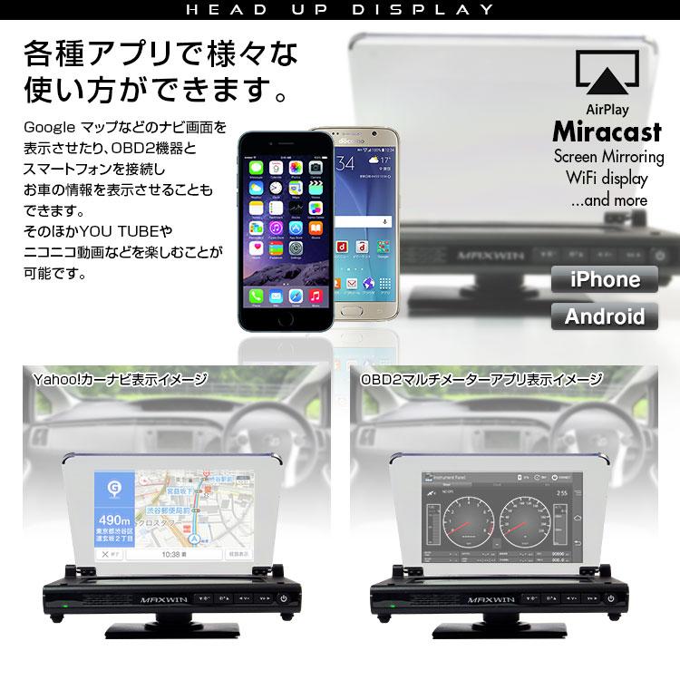 雖然抬頭顯示器抬頭顯示屏HUD iPhone智慧型手機Android安卓iPhone Air Play Miracast WiFi display Screen mirroring空氣比賽安全可是駕駛WiFi