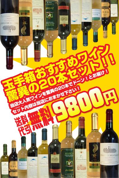 【送料無料】ワインセット うきうきワインの福袋!玉手箱オススメワイン20本セット 白ワイン20本コース