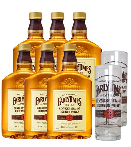 【送料無料】【6本セット】【オリジナルグラス2脚付き】アーリータイムズ・イエロー・ラベル・1750ml×6本(ケース6本入り)・正規品・ケンタッキー・バーボン・ウイスキー・40%
