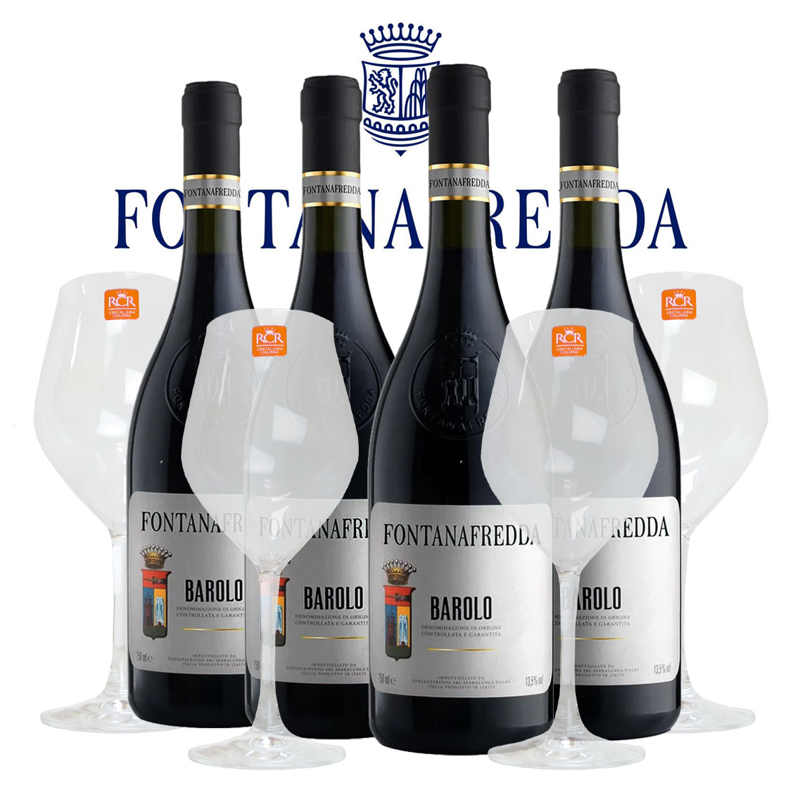 バローロ 2015年 フォンタナフレッダ 750ml×4本 クリスタルワイングラス4脚セット 正規 (イタリア 赤ワイン)