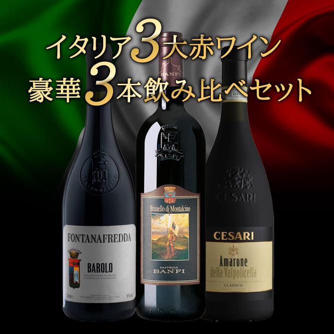 ワインセット イタリア三大赤ワイン 飲み比べセット B