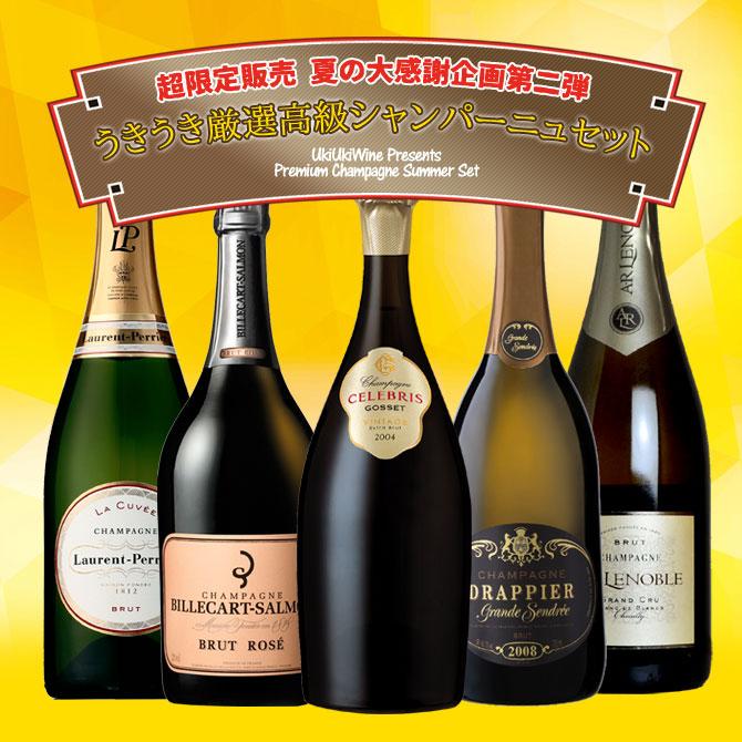 ワインセット シャンパンセット 超限定販売 夏の大感謝企画 うきうき厳選高級シャンパーニュ5本セット 送料無料