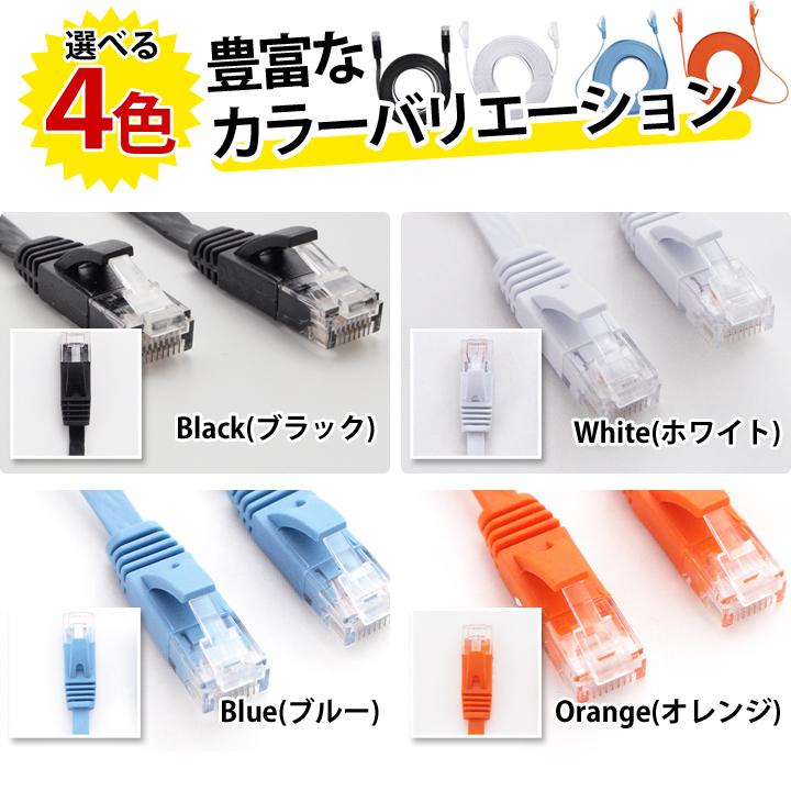 LANケーブル 10m CAT6 フラット ランケーブル 1年保証 ストレート ツメ折れ防止カバー スーパーフラット 黒 白 青 橙 やわらか 1.7mm厚 カーペット サーバー 企業 業務用 PlayStation4対応 RJ-45 カテゴリ6  あす楽 UL.YN