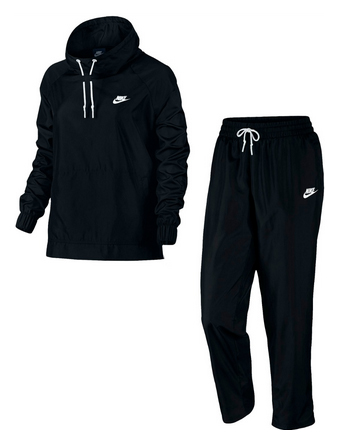 バスケットセットアップ ジュニア レディーズ ウェア  ナイキ Nike Wmns Woven Open Hem Track Suit Blk/Wht ウーメンズモデル 女性用  ランニング トレーニング ストリート 【WOMEN'S】アパレル