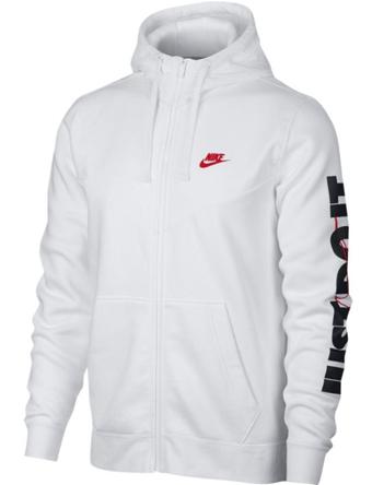バスケットパーカー ウェア 秋冬物 ナイキ Nike JDI Fleece Full-Zip Hoodie Wht/U.Red  ランニング トレーニング ストリート 【MEN'S】