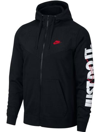 バスケットパーカー ウェア 秋冬物 ナイキ Nike JDI Fleece Full-Zip Hoodie Blk/U.Red  ランニング トレーニング ストリート 【MEN'S】