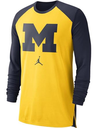 バスケットロング Tシャツ ウェア  ジョーダン ナイキ Jordan Jordan College L/S Breathe Shooter Shirt Wolverines  ランニング トレーニング 【MEN'S】