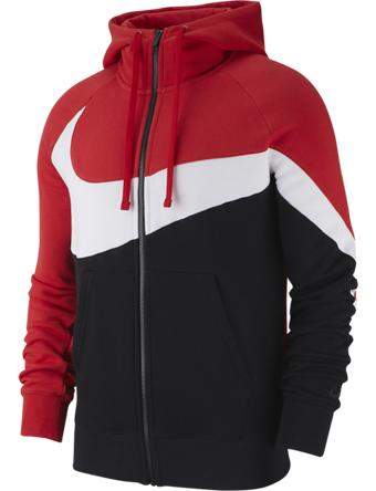 バスケットパーカー ウェア 秋冬物 ナイキ Nike Large Swoosh Full-Zip Hoodie Blk/Red/Wht  ランニング トレーニング ストリート 【MEN'S】