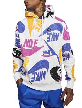 バスケットパーカー ウェア 秋冬物 ナイキ Nike Nike Hand Drawn Logo AOP Hoodie Deep Royal/Blue/White  ストリート 【MEN'S】