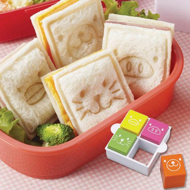 ランチパック サンドイッチ ポケットサンド 可愛いサンドイッチが4つも 【可愛いサンドイッチが4つも!】食パン抜き型 アニマルトイ【キャラ弁 キャラ弁グッズ】 оお弁当グッズ_ランチパック_サンドイッチ_ポケットサンド