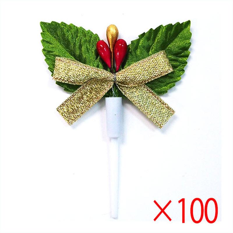 【送料無料】クリスマスケーキピック 柊 ゴールドリボン FM-1-A 100本