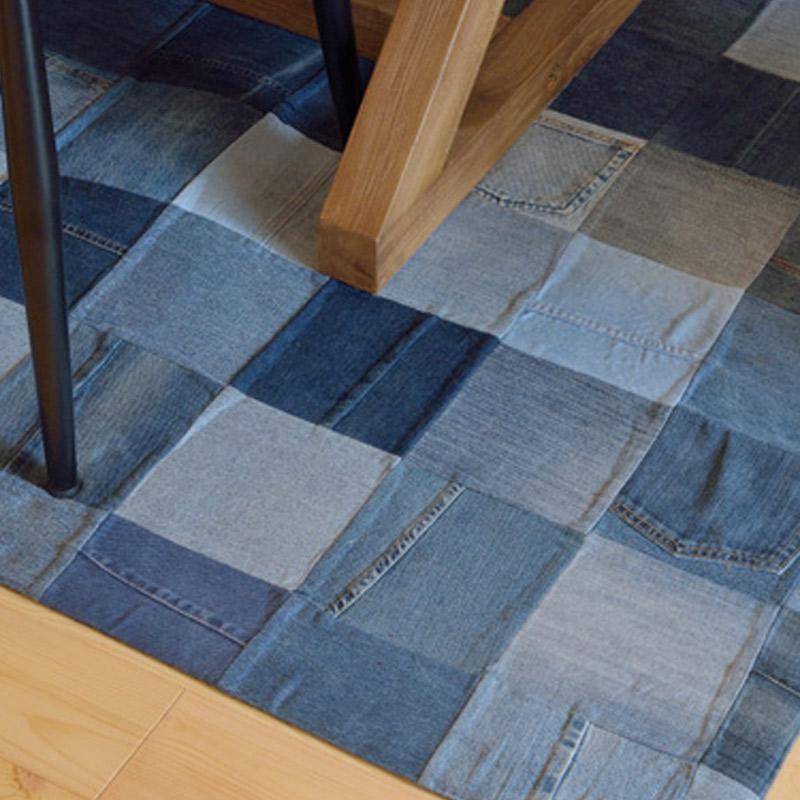 送料無料 デニムパッチワークラグ230×170 AZUMAYA 東谷 WE-230 ヴィンテージ アメリカン デニム おしゃれ 敷物 ラグ 絨毯 ルームマット カーペット