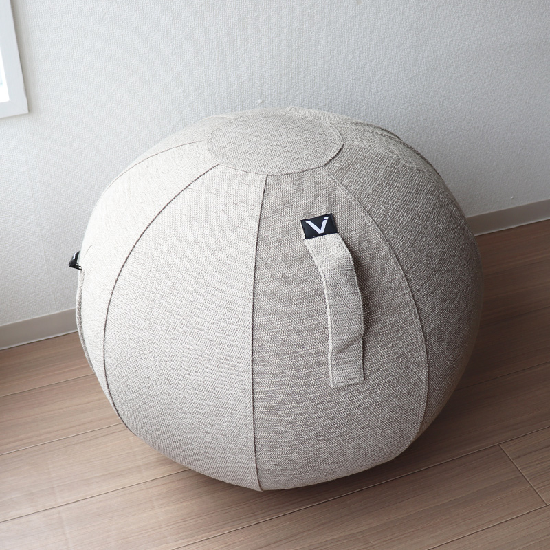 vivora バランスボール シーティングボール おまけ付(パンケーキミックス)セット ベージュ  ルーノ シェニール sitting ball chairs LUNO Chenille 65cm カバー付き 転がりにくい ポンプ付 軽量 破裂防止 二重構造 ウルトラミックス
