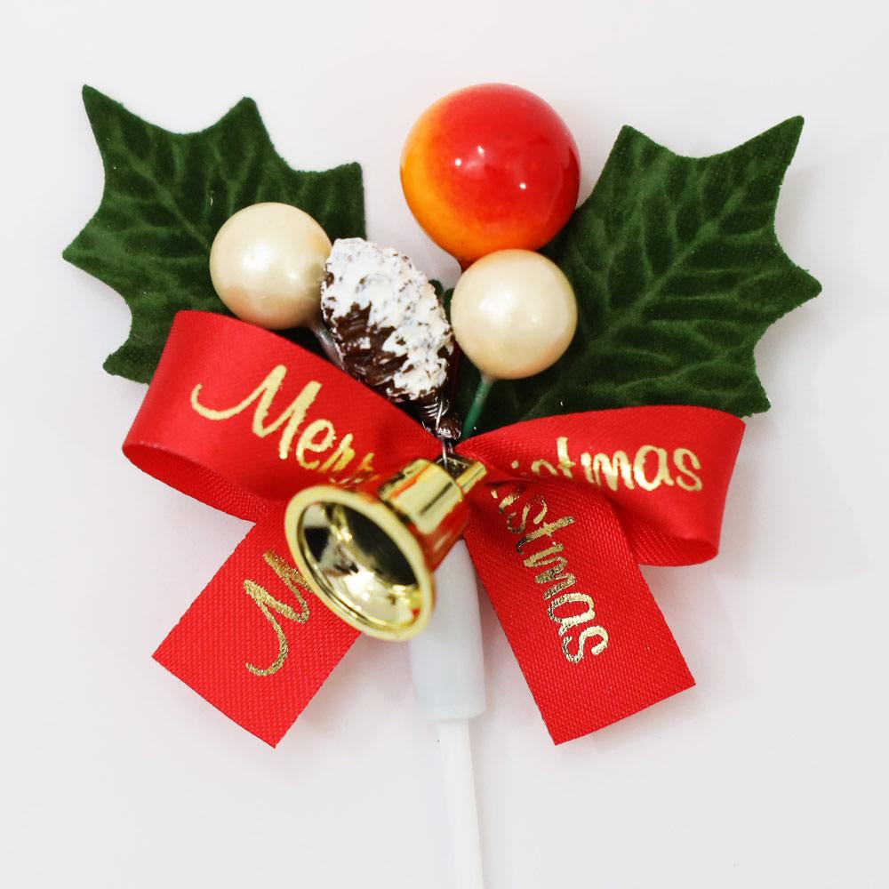 ひいらぎ 柊 クリスマス プレミアム ケーキピック ヤシャの実 ゴールドベル 60×60mm 100本セット 飾り 日本製 受注生産品 手作り ヒイラギ ケーキ用 高級 プレミアム 業務用 オーダーメイド 送料無料