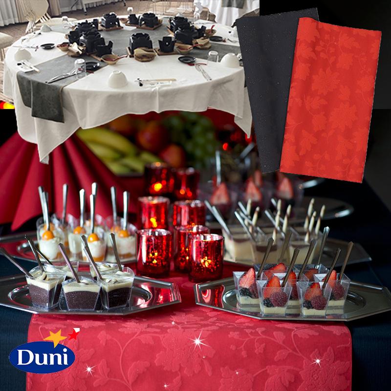 業務用 テーブルランナー DUNI ブリッジランナー エレガンス 0.4×24m 4本セット カラー レッド/ブラック テーブルクロス ペーパー テーブルランナー 高品質 ホテル レストラン 業務用 大容量