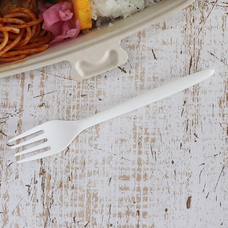 C-PLA フォーク 17cm 白 ホワイト 1,000本セット バイオプラスティック カトラリー PLA 使い捨て ナイフ 耐熱 85℃ おしゃれ エコ 環境 サスティナビリティ 環境 対応 商品 業務用 大容量