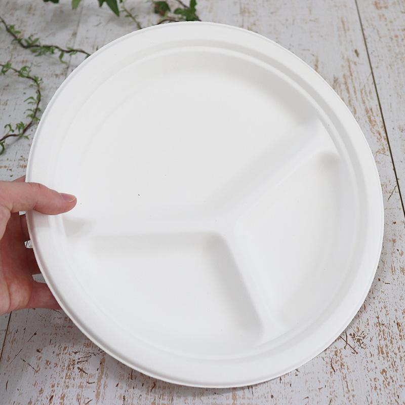 バガス 再生紙製容器 バガスモールド三区切りプレート 10インチ 直径260×26h 700個セット (サトウキビの搾りカスから再生された堆肥可能なパルプ製)業務用 大容量 (メーカー直送品)