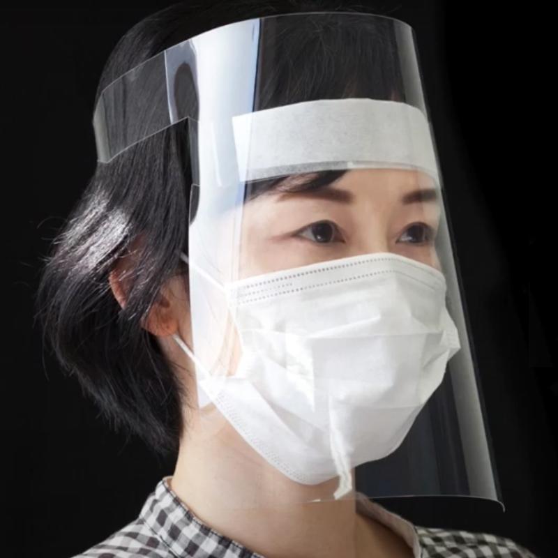 フェイスガード PP0.25t 抜き加工 300個セット(不燃布付き) フェイスシールド フェイスカバー 使い捨て 大容量 サイズ変更可能 透明性の高いPP 飛沫感染防止用 透明マスク (メーカー直送品)