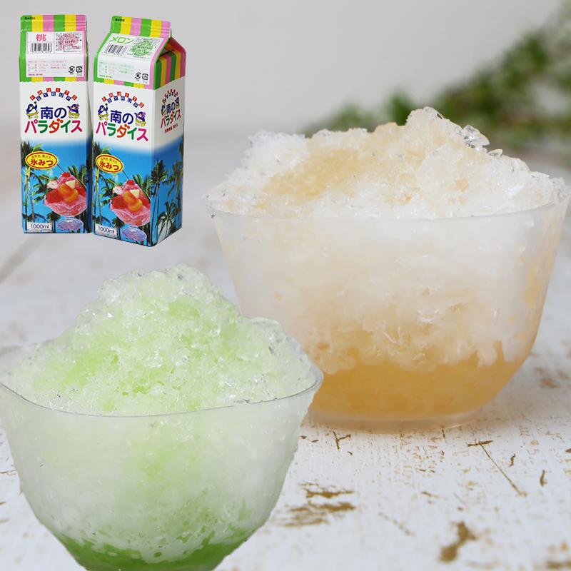天然着色料のかき氷シロップ1L×12本セット 桃6本+メロン6本 (果汁入り・保存料不使用) 業務用 果汁を30%以上使用 合成着色料や保存料不使用の自然派シロップ