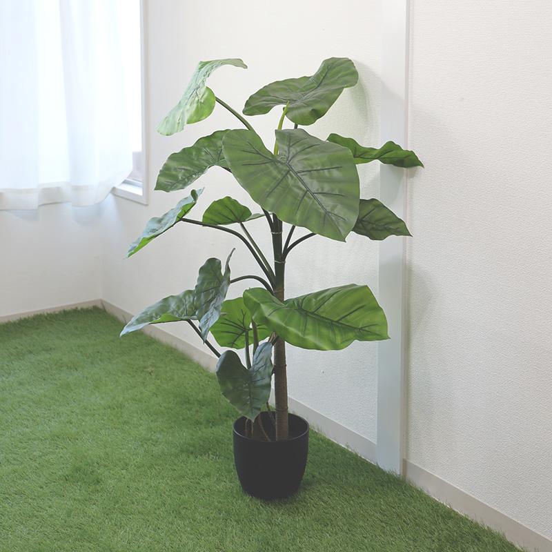 フェイクグリーン 人工観葉植物 クワズイモ アロカシア (アローカシア) 高さ40cm グリーン 観葉植物 造花 大型 インテリア 店舗 ショップ おしゃれ ショウルーム