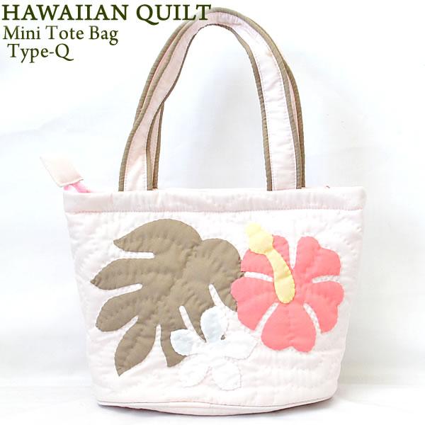 afce03e63 Hawaiian Quilt Hawaii Ann kilt mini-tote bag Type-Q hibiscus leaf  frangipani light ...