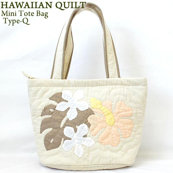 39a642992 Hawaiian Quilt Hawaii Ann kilt mini-tote bag Type-Q hibiscus monstera  frangipani cream ...
