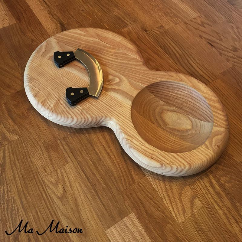 木制切菜板 MEZZALUNAR 板 (与 mecchalerna 刀)