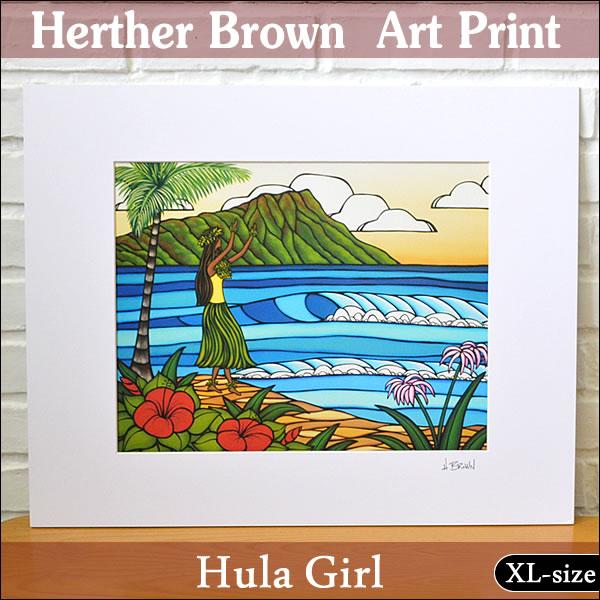 【ヘザーブラウン】【Heather Brown】ART PRINT XL HULA GIRLへザー ブラウン・アートプリントXL フラガール