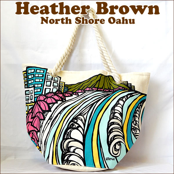 【ヘザーブラウン】【Heather Brown】オリジナルトートバッグWaikiki Coastline Rope Handle Tote Bag【ヘザー・ブラウン】【Hawaii】【ハワイ 雑貨】ハワイアン雑貨