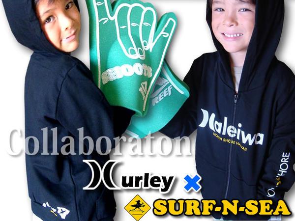 【SURF-N-SEA】【HURLEY】キッズ&ベビー ZIPパーカー『ハーレー ・サーフアンドシー』コラボ・キッズ&ベビーZIPパーカーKTHZHALHawaii ハワイ雑貨 ハワイアン【送料無料】