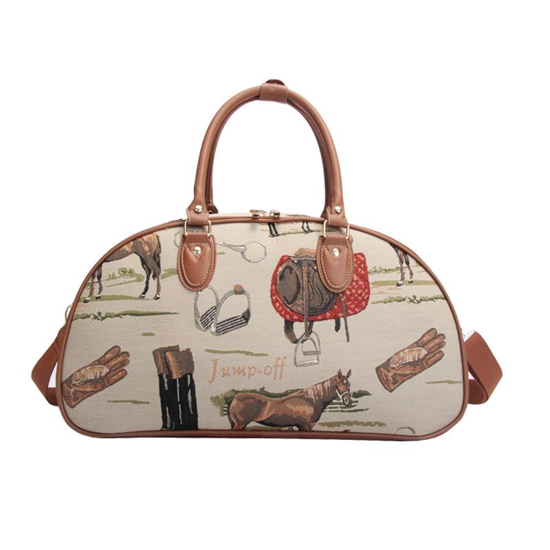 ホースモチーフのタペストリー生地を使用したキャリーオンバッグ Signare 現金特価 タック キャリーオンバッグ-ホース 再入荷 予約販売