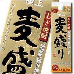 【送料無料】合同 むぎ焼酎 麦盛り プレミアム 25度1.8Lパック×2ケース(全12本)