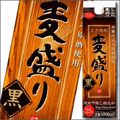 【送料無料】合同 むぎ焼酎 麦盛り 黒 25度1.8Lパック×2ケース(全12本)