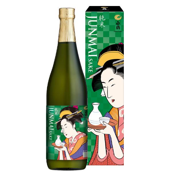 【送料無料】白鶴酒造 白鶴 純米 浮世絵ラベル(箱入り)720ml瓶×2ケース(全12本)