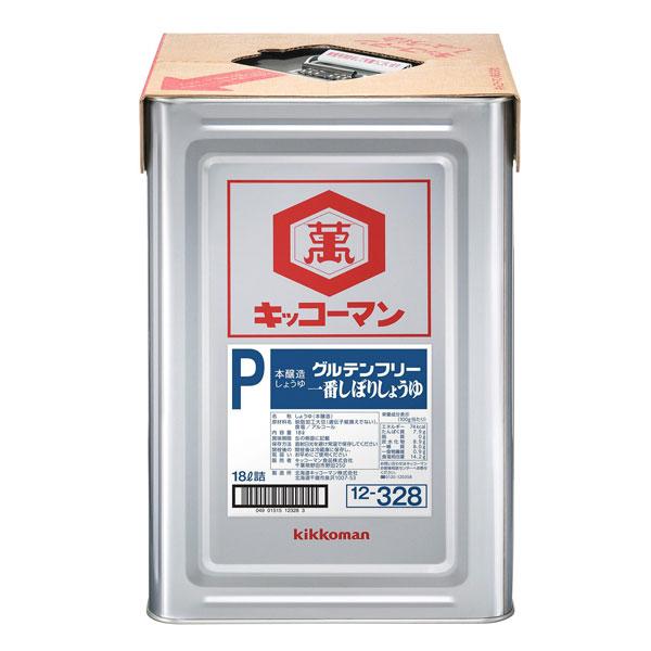 【送料無料】キッコーマン グルテンフリー 一番しぼりしょうゆ18L天パット缶×2本