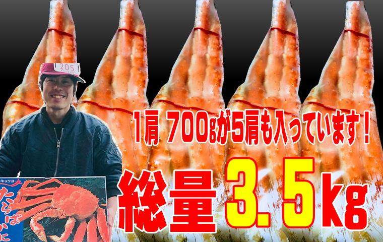 【 たらばがに・身入りは80%以上 】 たらば蟹 ・ボイル たらばがに 1肩700g(5肩入り)身入り【8割以上】大満足!4L大型サイズ【冷凍便】