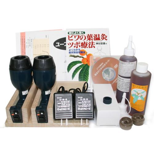 びわの葉温灸器ユーフォリアQ+専用カセット54個+ビワエキス計450ミリ+使い方DVD・ツボ療法の本