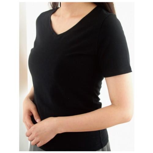 VネックTシャツ ブラック S 【エンバランス】